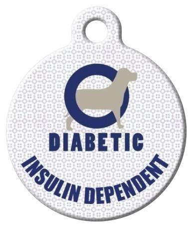Featuring a blue circle (the symbol for diabetes) with a dog design on a light patterned background with 'DIABETIC INSULIN DEPENDENT""