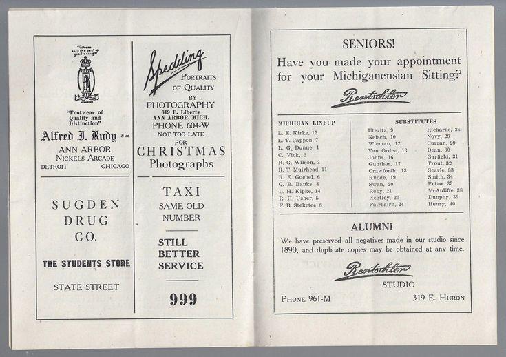 1921 NCAA OHIO STATE BUCKEYES @ MICHIGAN WOLVERINES FOOTBALL PROGRAM & TICKET