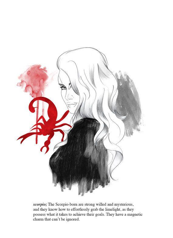 Scorpio zodiac print // horoscope illustration // birthday present // gift idea // painting