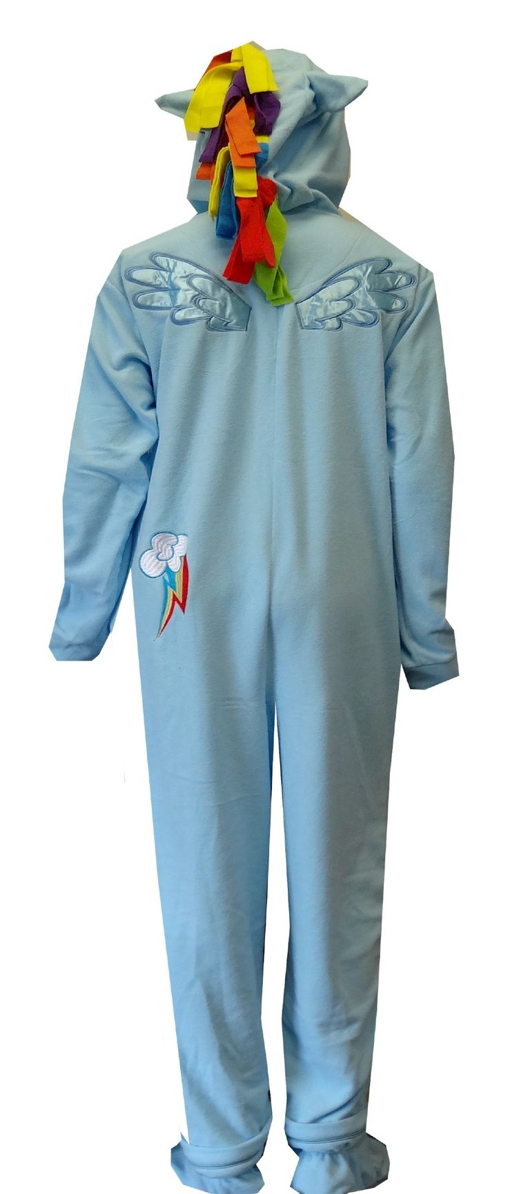 "My Little Pony Rainbow Dash Fleece Onesie Footie Pajama  Who says fun pajamas are for kids? These pajamas for adults are designed to look like My Little Pony's Rainbow Dash. The awesome hood has a face and rainbow colored mane. The rear has satin embroidered wings and insignia. This soft fleece pj has a half-zip front, side pockets and slits in the cuffs for your thumbs. Feet completely zip on and off! Medium fits 5'3""-5'7"" 125-150 lbs. Large fits 5'7""-5'11"" 150-175 lbs. XL fits 5'11, $35"