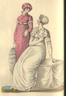1810 Evening Dress. Robe of amaranthus figured sarsnet w/high neck w/full cuff of lace; long sleeves w/short loose tops trimmed w/ swansdown. Turban of amaranthus crape & velvet. Swansdown muff. White kid gloves & shoes. Hair in light ringlet curls.  Evening Dress. Round dress of white muslin high over bosom w/short sleeves trimmed w/lace & ornamented round the bottom w/three rows of small tucks. Spotted ermine tippet. Cap of fluted satin & lace + apple blossoms.