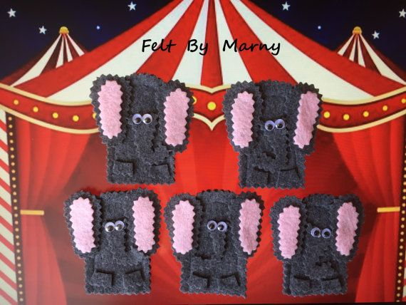 5 Little Elephants and a Spiderweb Handpuppet // by FeltByMarny
