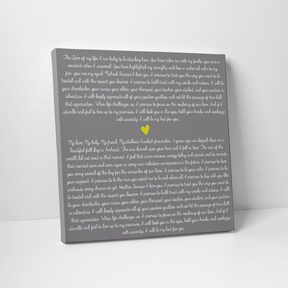 Wedding Sign Vows On Canvas