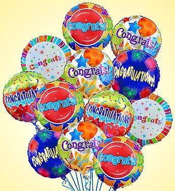 Air-Rangement® - Congratulations Mylar Balloons  Give them a little extra lift with a festive arrangement of Congratulations Mylar balloons. Selected by our expert florists, theyre a great way to congratulate someone special for any occasion, from a new job or promotion to a new baby or housewarming. - Half Dozen