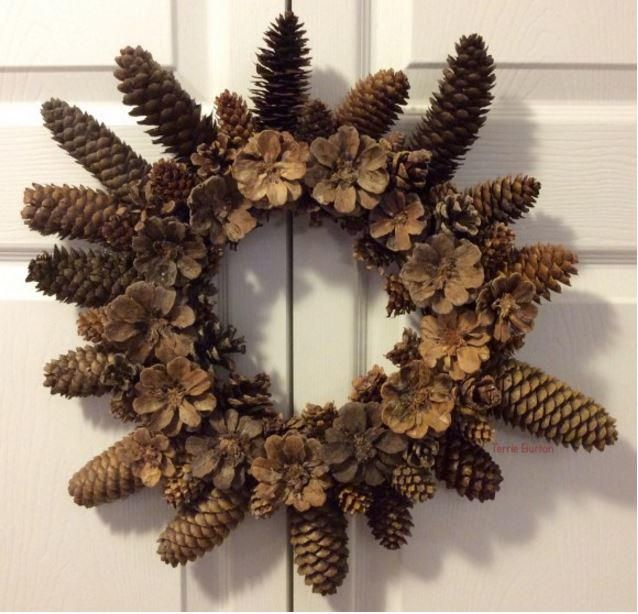 251 best wreath crafts images on pinterest christmas deco dollar store diy pine cone wreath diy christmas wreathsdiy solutioingenieria Images