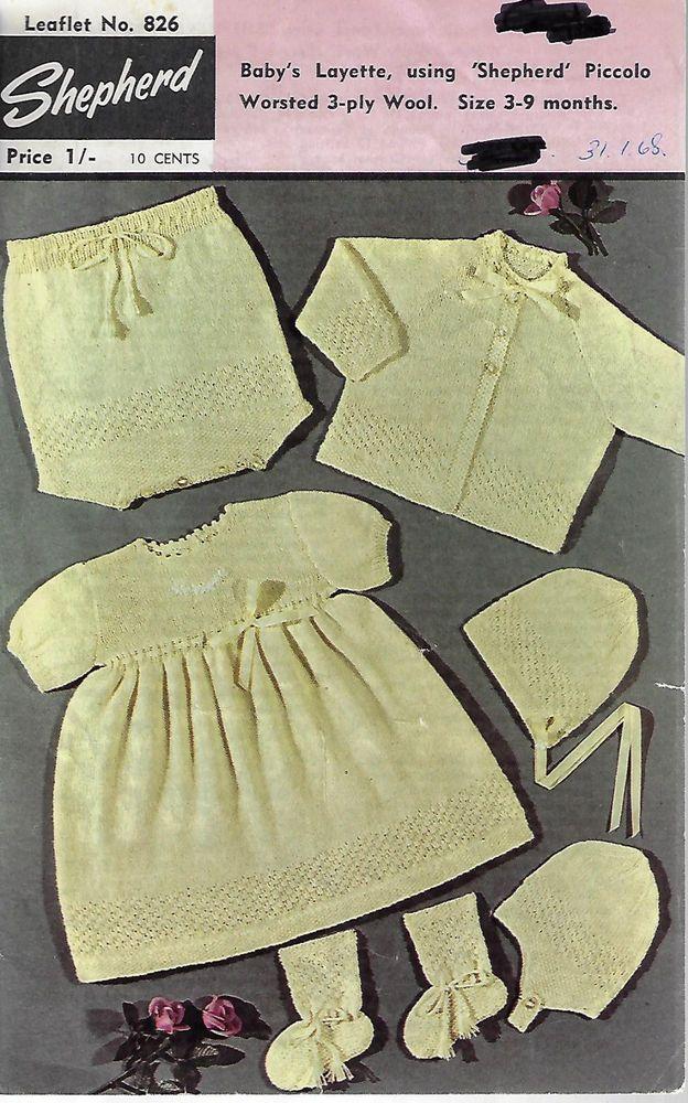 f03e9803f Baby Layette Shepherd 826 vintage knitting pattern 3 ply yarn ...