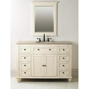 home depot bathroom vanities with tops. home decorators collection, hamilton 49 in. d shutter bath vanity in distressed white with granite top beige, 1235200410 at the depot - bathroom vanities tops