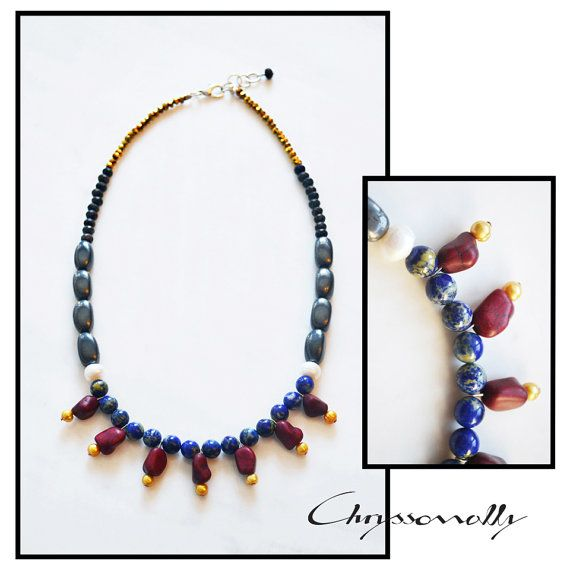 CDC007 - Chryssomally elegant statement necklace with blue lapis, burgundy howlite, yellow and white pearls, grey hematite, black lava and gold crystals.