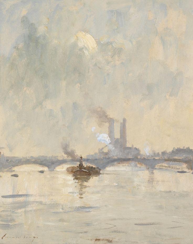 Edward Seago (English, 1910-1974), Battersea Bridge. Oil on board, 20 x 16 in.
