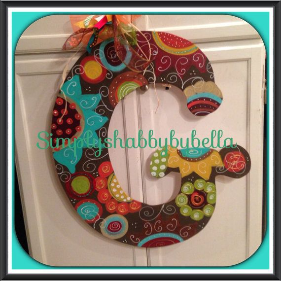 Personalized wooden Initial Door hanger