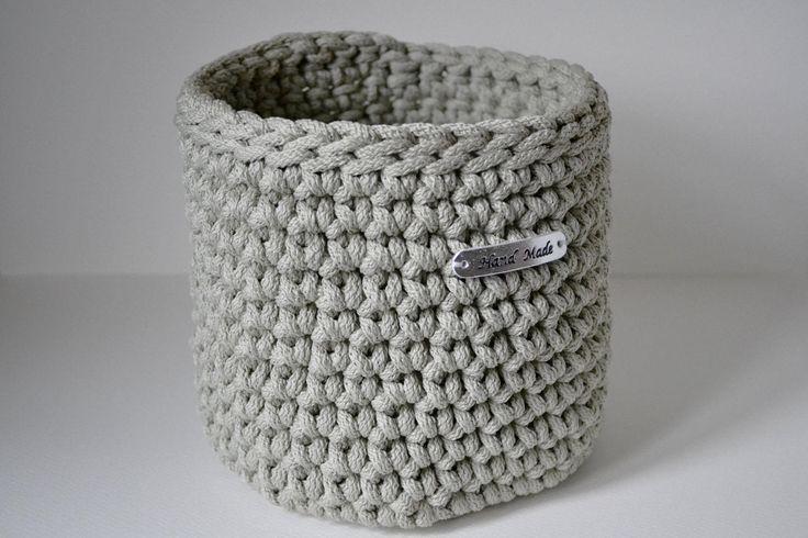 Light gray basket, rope crochet basket, storage basket, home decor by iKNITSTORE on Etsy
