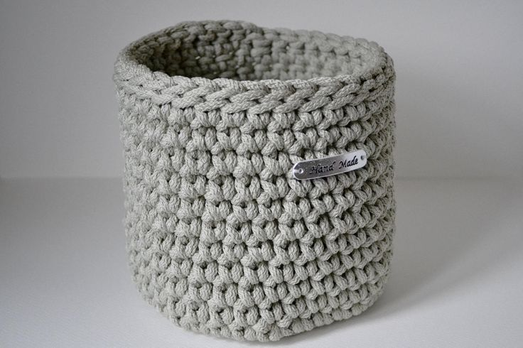 Light gray basket, rope crochet basket, storage basket, home decor by iKNITSTORE on Etsy