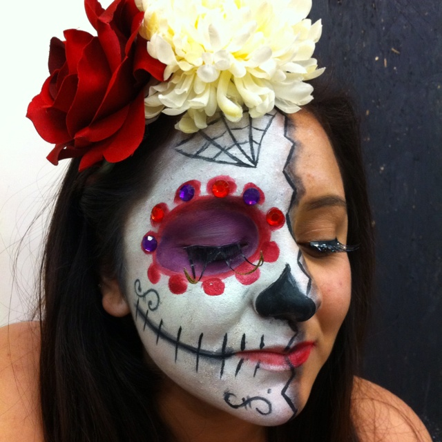 my first day of the dead face painting - Halloween Day Of The Dead Face Paint