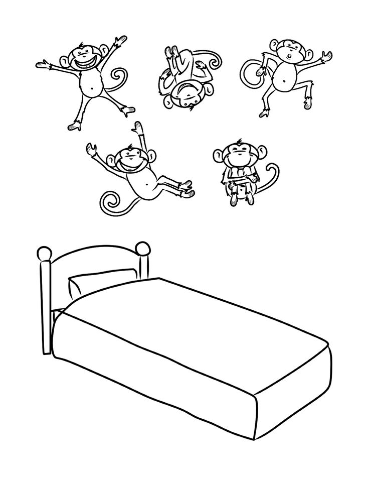 Coloring pages 5 five little monkeys jumping bed five for Five little monkeys jumping on the bed coloring pages