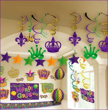 Party City has a bunch of decorations and fun favors in the Mardi Gras theme!