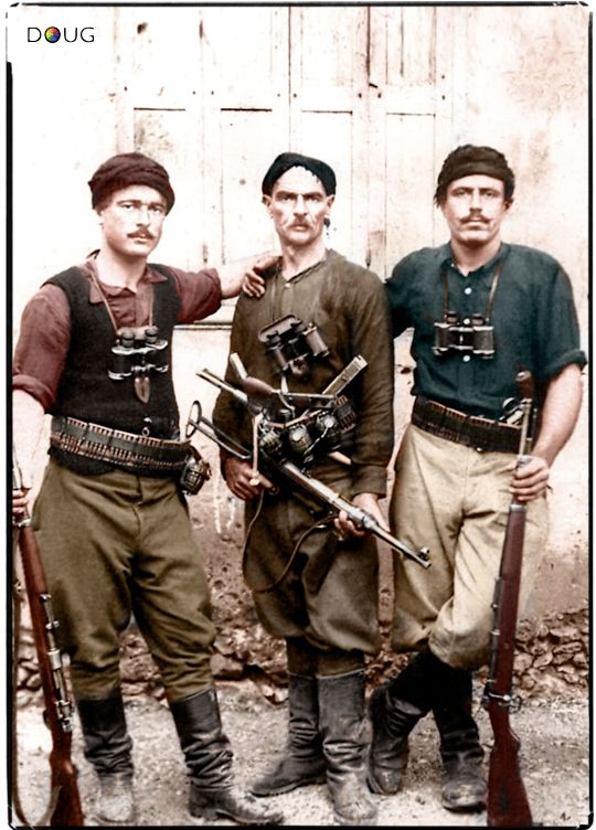Cretan partisans (from the Greek Island of Crete), pose for a photograph following the Axis invasion of the island. Part of the larger Greek Resistance, it began on 20 May 1941 when Axis forces invaded the island in the Battle of Crete.