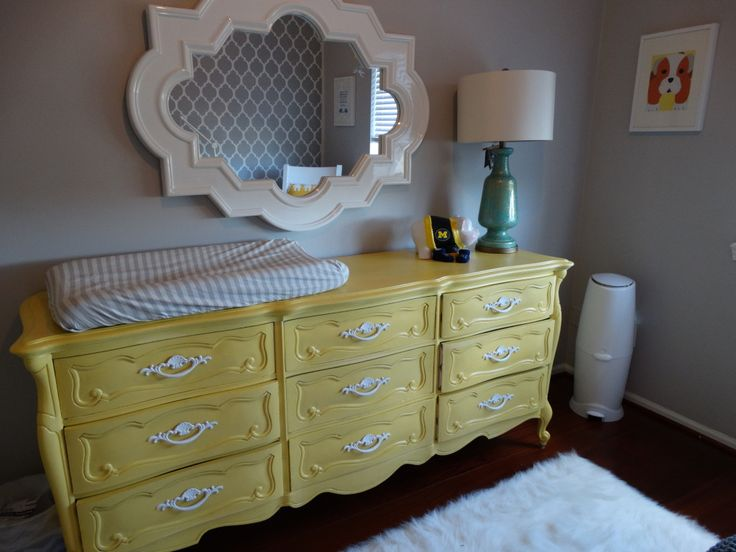 Yellow Vintage French Provincial Dresser Painted with Chalk Paint - #nursery #changingtable: Chalk Paint, Big Dressers, Yellow Gray Nurseries, Yellow Dressers, Coral Grey Navy Nurseries, Diy Yellow, Projects Nurseries, French Provincial Nurseries, French Provincial Dressers