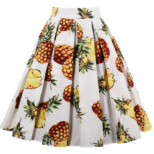 Pineapple Print High Waisted Pleated Skirt ($18) ❤ liked on Polyvore featuring skirts, twinkledeals, high rise skirts, white pleated skirt, knee length pleated skirt, high-waisted skirts and high-waist skirt