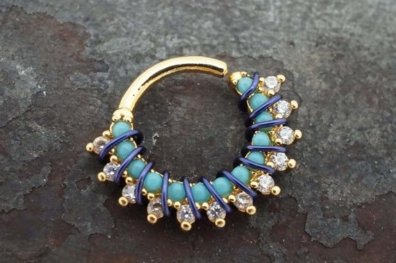 Türkis Bali Hoop Gold Piercing Turm Ohrring Hoop Septum Piercing   – Products
