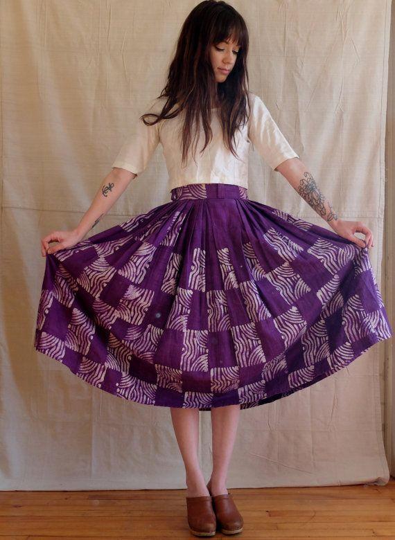 vintage 50s violet ethnic cotton batik full by SweeetLeafVintage