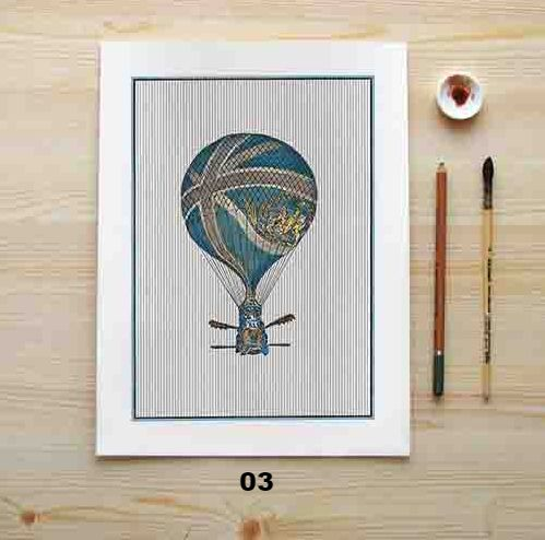 """""""Chevron Fire Balloon Collection"""" Canvas Painting"""