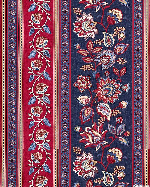 Americana - Jacobian Floral Stripe - Navy