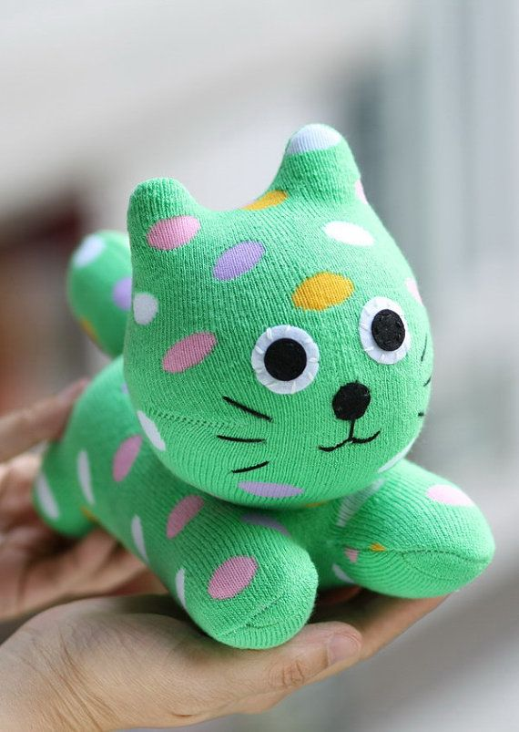Personalized plush Sock Cat stuffed animal by Toyapartment