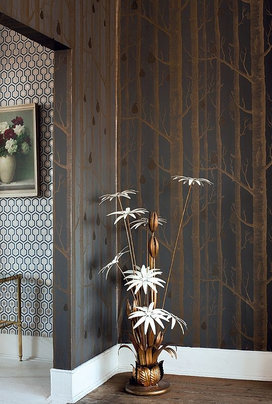 Woods & Pears Wallpaper A re-worked classic contemporary wallpaper in dark donkey grey with the addition of pewter metallic pears on cream i...