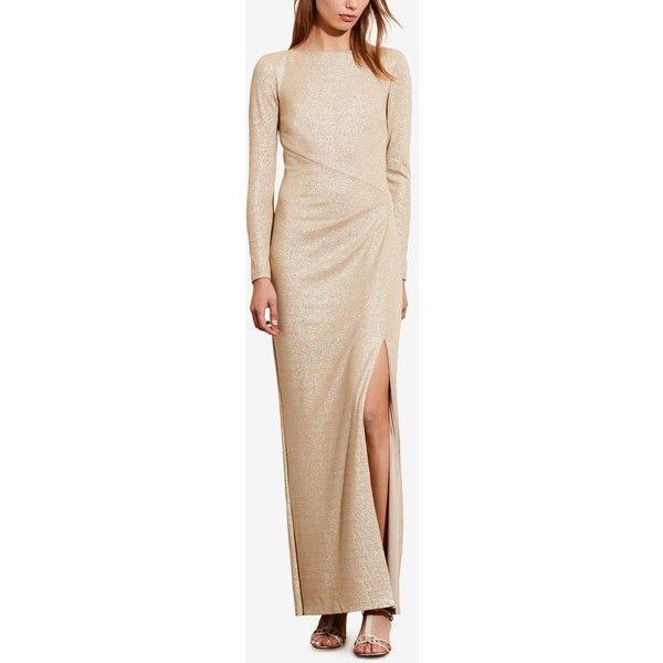 Lauren Ralph Lauren Metallic Scoop-Back Gown (£170) ❤ liked on Polyvore featuring dresses, gowns, beige bodycon dress, lauren ralph lauren gown, metallic gown, metallic evening dress and beige gown