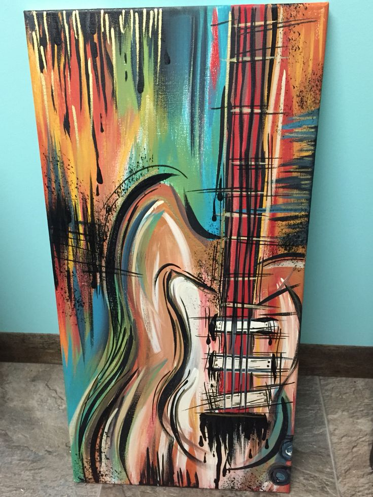 Acrylic guitar painting on canvas