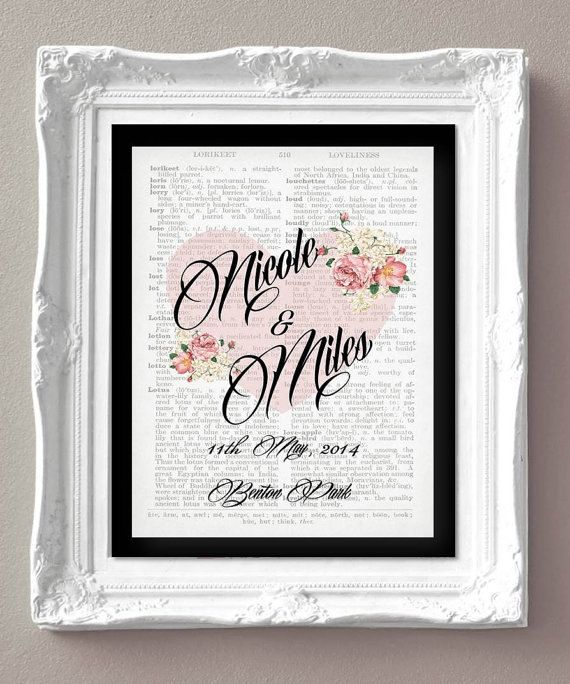 Names  Wedding Date Personalised Love Print- Dictionary - Digital Print - Wedding - Wedding date print - Valentines Day - Anniversary on Etsy, £7.00