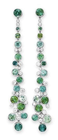A PAIR OF DIAMOND AND MULTI-COLORED TOURMALINE EAR PENDANTS, BY TIFFANY & CO.