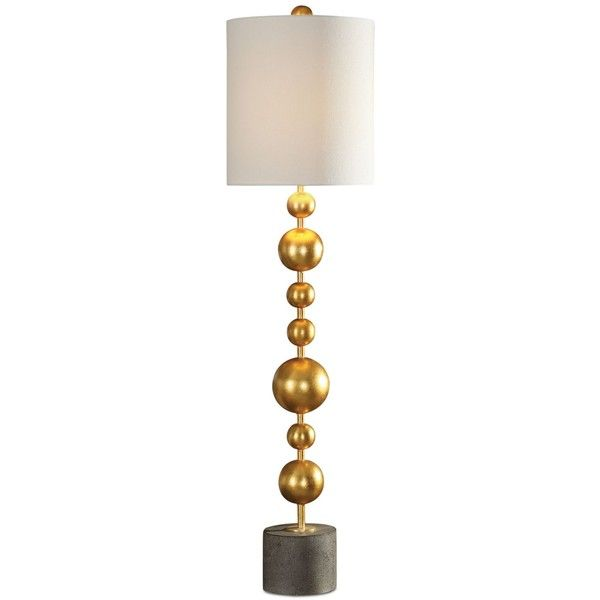 Uttermost Selim Table Lamp ($420) ❤ liked on Polyvore featuring home, lighting, table lamps, gold, uttermost table lamps, sphere lamp, stacked lamp, orb lighting and uttermost lamps