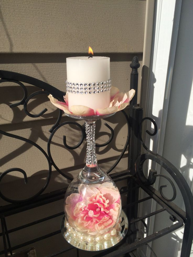 Wedding wine glass candle holder ideas