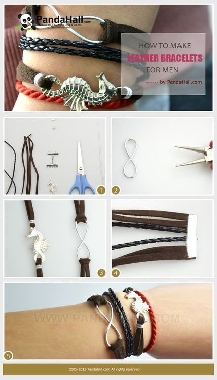 Jewelry Making Tutorial -How to Make Leather Bracelets for MEN with Simple Steps by conceptana