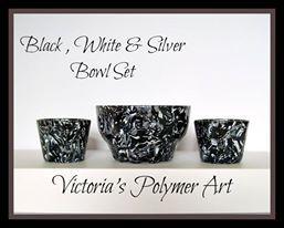 Black, White and Silver Bowl Set