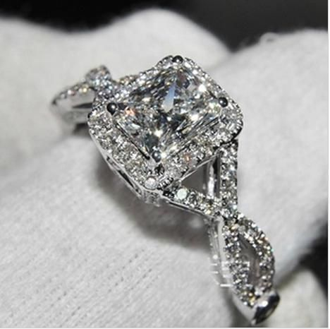 Simulated Diamond 3ct Cushion Cut Split Shank Engagement Ring  .925 Sterling Silver, $329.95