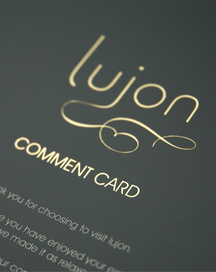 Lujon comment card printed in one colour and gold foil blocked. By Sama Studio Ltd.