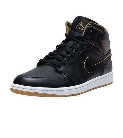 Air Jordan 1 Mid Black Metallic Gold Whites