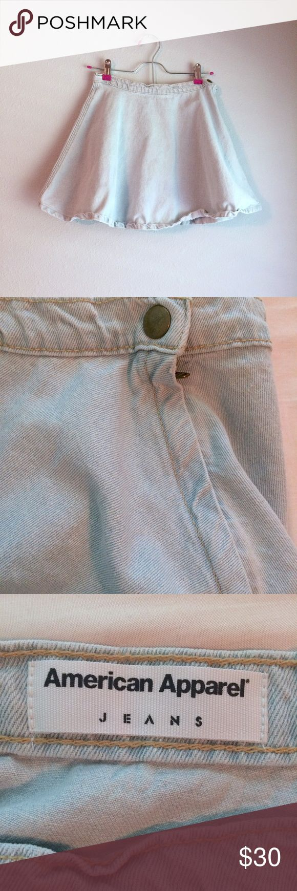American Apparel Denim Skater Skirt Very thick Denim material. High waisted and quite short. Only flaw is the fold over on the Hem from wash. American Apparel Skirts Circle & Skater