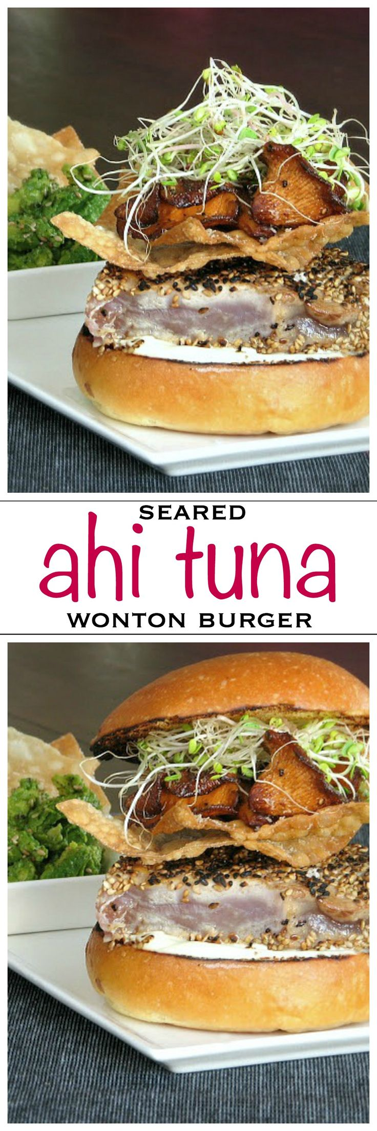 Seared ahi tuna on a toasted bun with mushrooms and crispy wontons | Foodness Gracious