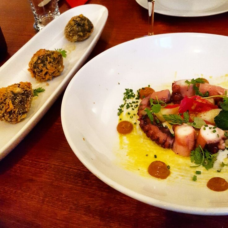 Boiled Octopus and Black Sepia Croquettes at Txokoa in Berlin, Germany, Europe