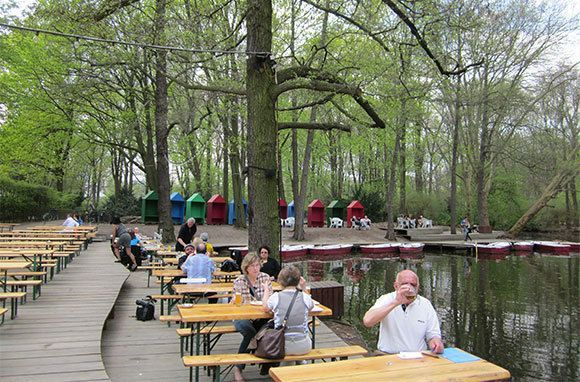 Cafe Am Neuen See The Tiergarten is often called Berlin's Central Park, but New York doesn't have anything nearly as chill as Cafe am Neuen See. Tucked away by Neuen See (New Lake), this beer garden offers traditional German food and drinks and amazing views of the park. In nice weather, you could spend hours here (go ahead and stay late, it's lit at night).