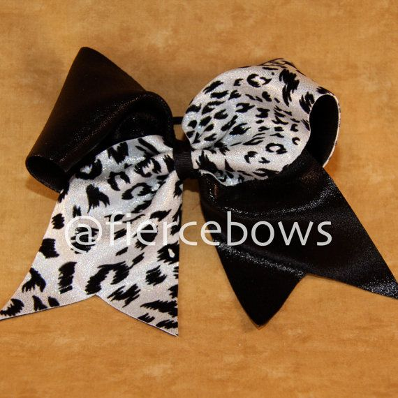 White Cheetah with Black Tick Tock Cheer Bow by MyFierceBows, $10.00