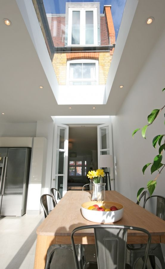 roof lighting design. light well right over french doors and then a large roof further in lighting design e