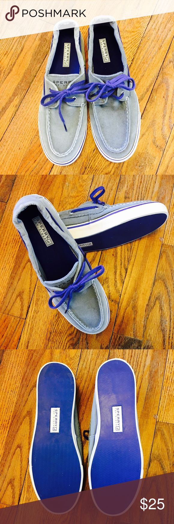 Sperry Top-Siders Sperry Top-Siders gray corduroy with blue laces and bottoms. Gently worn but still in good condition! Size 9. Sperry Top-Sider Shoes