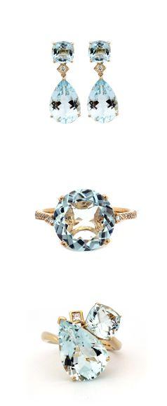 A collection of stunning eye clean Aquamarine fine jewellery pieces. #Aquamarine #Birthstones #Elegance #JewelleryCollection