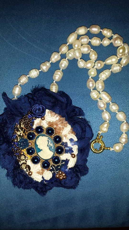 The Lady in blue Necklace completely hand crafted with resin cameo and fresh water pearls, swarowsky