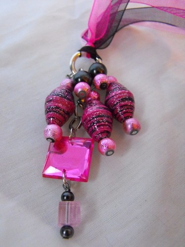 Beautiful Pink and Black Paper Beaded Necklace Pendant