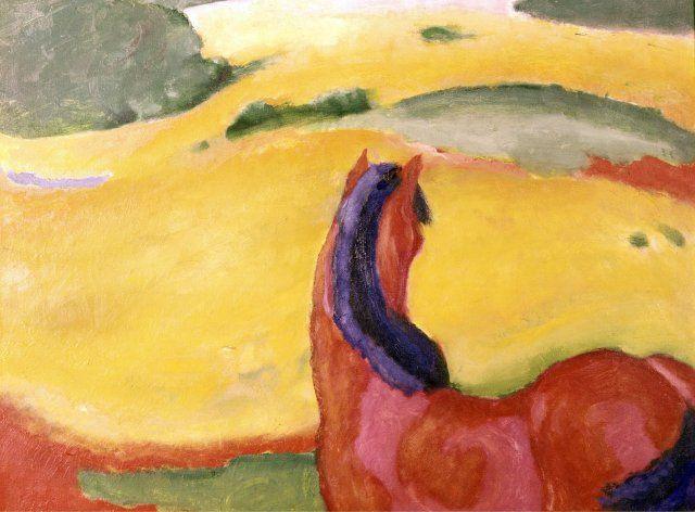 """fine arts, Marc, Franz, (1880 - 1916), painting, ""Pferd in Landschaft"", (""horse in landscape""), 1910, oil on canvas, 112 cm"